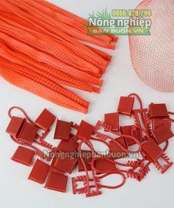 Túi lưới nhựa dài 35cm có móc khóa màu đỏ(1kg)