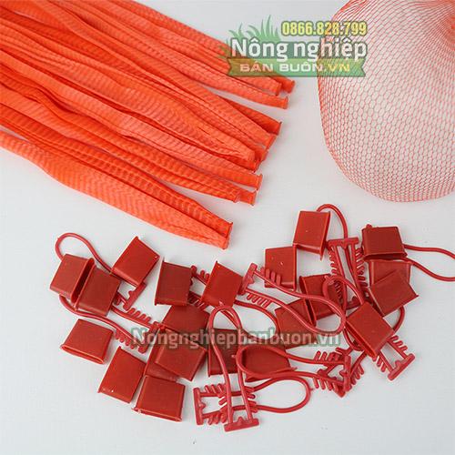 Túi lưới nhựa dài 40cm có móc khóa màu đỏ(1kg)