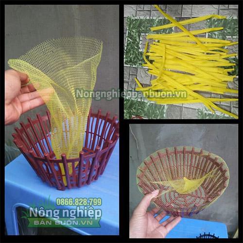 Túi lưới nhựa dài 40cm màu vàng (1kg)