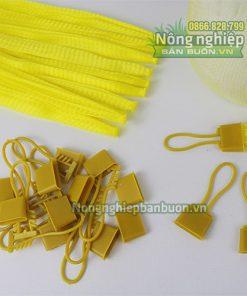 Túi lưới nhựa dài 35cm có móc khóa màu vàng (1kg)