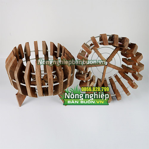 Chậu gỗ trồng lan phi 21cm CG07