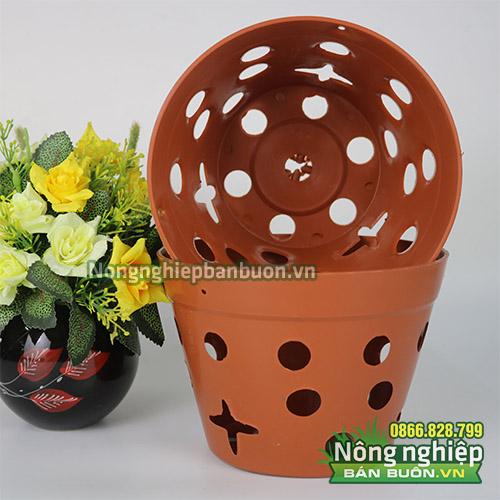 Chậu nhựa giả gốm trồng hoa phi 23 - CN15