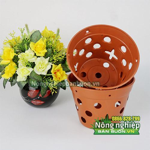 Chậu nhựa trồng hoa giả gốm phi 14.5 CN12