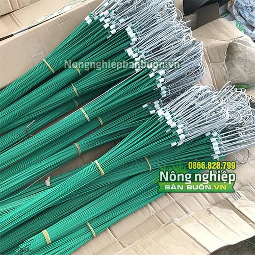 10 móc nhôm treo lan có 3 dây treo bọc nhựa 70cm - VTK12