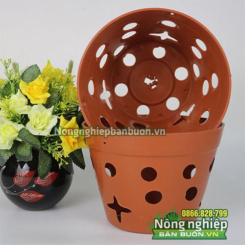 Chậu nhựa trồng hoa giả gốm phi 20 CN14